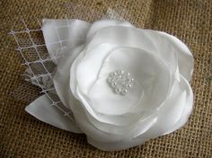 White Satin Hair Flower  Pearl Lace Hair Piece  by FloroMondo, $28.00