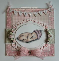 Babycard with Sugar Nellie Bambino - 1st prize Scr@p-cards challenge blog - joy banner and die from Marianne Design - spectrum noir colouring - Misseke's House of Crafts