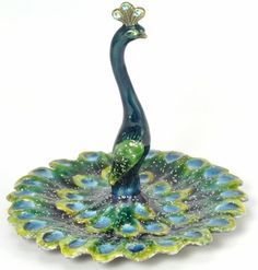 Welforth Peacock Enameled Pewter Ring/jewelry Holder for sale online Peacock Ring, Peacock Jewelry, Peacock Decor, Peacock Colors, Peacock Art, Peacock Theme, Peacock Design, Peacock Feathers, Peacock Bedroom