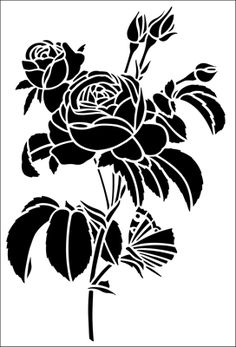 Rose & Butterfly stencil from The Stencil Library GENERAL range. Buy stencils online. Stencil code 148.