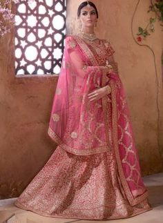 Beautiful #Pink exclusive zari work bridal wear silk #Lehenga choli