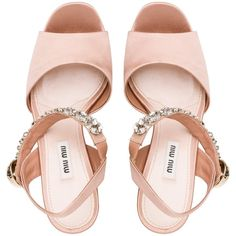 Miu Miu Sandal (22.158.630 VND) ❤ liked on Polyvore featuring shoes, sandals, satin shoes, jewel sandals, high heel sandals, platform sandals and platform shoes