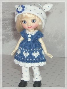 Amelia Thimble Dolls Blue Fair Isle Dress with by JCsTinyTreasures