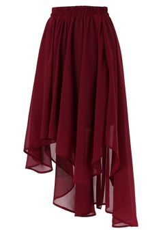 Wine Red Asymmetric Waterfall Skirt. I have an army green skirt like this, but this red is just so much more <3