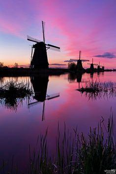 Windmills of Kinderdijk by Chung Hu #Reflection