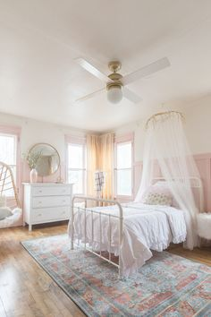 Pink and Gold Girls Bedroom & ORC Reveal The post Pink & Gold Girls Bedroom Decor Ideas appeared first on Baby Room Ideas. Big Girl Bedrooms, Little Girl Rooms, Pink Bedrooms, Pink Bedroom For Girls, Kids Bedroom Ideas For Girls, Girls Bedroom Canopy, Preteen Girls Rooms, White Girls Rooms, Girls Pink Bedding