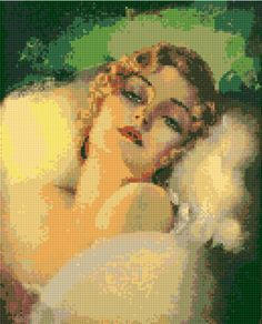 Cross stitch pattern Art Deco 'Dreaming' by Rolf Armstrong PDF - EASY chart with one color per sheet And regular chart! Two charts in one! by HeritageCharts on Etsy