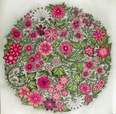 "Johanna Basford ""Secret Garden"" - Flower Mandala I love the complementary color scheme that was used. Secret Garden Coloring Book, Coloring Book Art, Colouring Pages, Adult Coloring, Mandalas Painting, Mandalas Drawing, Secret Garden Book, Johanna Basford Secret Garden, Johanna Basford Coloring Book"