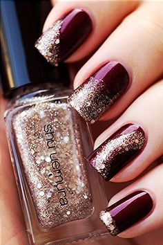Maroon polish with gold sparkles!