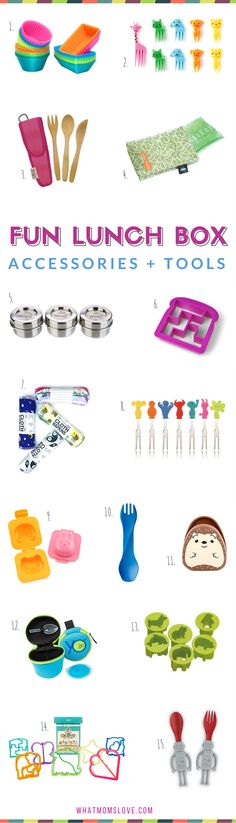 Fun Lunch Supplies and Tools to pack a great school lunch for kids | Best bento boxes, stainless steel, supplies and tools for packing a healthy lunch for picky eaters, kindergartners, grade schoolers and teens | Back to School Guide