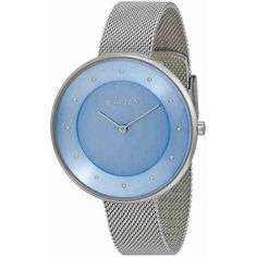 Skagen Gitte Blue Dial Stainless Steel Mesh Ladies Watch ($75) ❤ liked on Polyvore featuring jewelry, watches, analog wrist watch, mesh watches, skagen, crown jewelry and analog watches