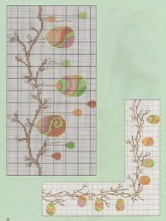Easter egg branch and/or border Cross Stitch Books, Cross Stitch Needles, Cross Stitch Borders, Cross Stitch Designs, Cross Stitching, Cross Stitch Embroidery, Cross Stitch Patterns, Hand Embroidery Flowers, Embroidery Patterns