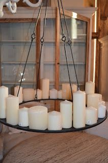 WANT IT :: I really want something like this candle chandelier! Candle Chandelier, Candle Lanterns, Diy Candles, Candle Lighting, Candels, Yard Design, Diy Design, Dining Room Shelves, Lights Fantastic