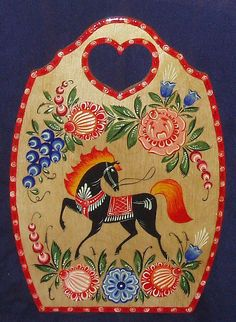 A wooden chopping board with folk Gorodets painting from Russia. #art #folk #painting #Russian