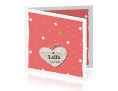 Sweet meisjes geboortekaartje in roze met licht hout label hart