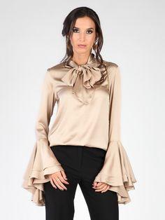 Ženska Majica CARLA BY ROZARANCIO #satin #fashion #blouse #shirt #sandy_color #long_sleeve #frills #ruffles #women_fashion