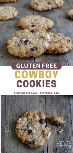 My gluten free cowboy cookies are chewy and hearty (oats!), with just the right amount of chocolate chips in a big, generous gluten free chocolate chip cookie. #Dessert #Glutenfree #Cookies #Baking