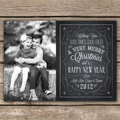 Christmas Chalkboard - DIGITAL Custom Christmas Holiday Photo Card