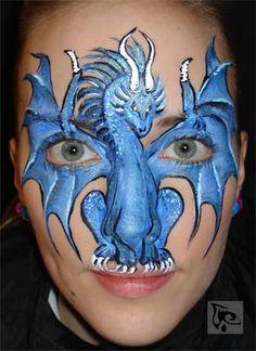 dragon face paint .. schmink draak