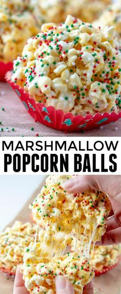 When it comes to easy and kid-friendly treats these Marshmallow Popcorn Balls are one of our all time favorites with only 5 ingredients needed! via snacks, Marshmallow Popcorn Balls Marshmallow Popcorn, Popcorn Balls With Marshmallows Recipe, Easy Popcorn Balls Recipe, Marshmallow Recipe For Kids, Marshmallow Desserts, Popcorn Recipes, Gourmet Recipes, Popcorn Snacks, Cooking Recipes