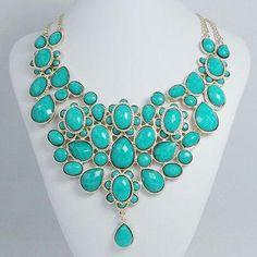 Turquoise Collar Bib Necklace $10