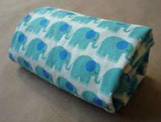 Blue Elephant Stroller Blanket by Greenerbeginnings on Etsy, $27.00