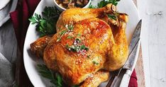 Classic comfort food made easy with this Curtis Stone recipe of roast chicken and mushroom gravy.