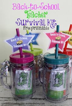 Back to school gift.Try these back to school teacher survival kit School Survival Kits, Survival Kit For Teachers, School Kit, Back To School Teacher, Back To School Gifts, Survival Supplies, Survival Prepping, School Stuff, School Ideas