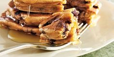 Whip up this breakfast treat with dependable staples right from your pantry: pancake mix, peanut butter, and chocolate chips. Breakfast Pancakes, Pancakes And Waffles, Breakfast Dishes, Breakfast Recipes, Breakfast Ideas, Peanut Butter Pancakes, Chocolate Chip Pancakes, Chocolate Chips, Homemade Pancakes