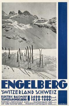 Engelberg, Switzerland Schweiz. 1935 Ski Vintage, Vintage Ski Posters, Retro Poster, Art Deco Posters, Vintage Sport, Snowboarding, Skiing, Montana, Tourism Poster