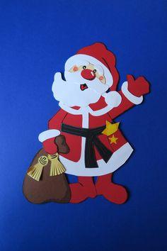 fensterbild tonkarton weihnachtsmann nikolaus weihnachten winter dekoration | basteln mit