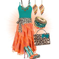 """""""Teal, Orange, and Leopard Print""""not the outfit as a whole but each and every piece is something that says """"Wow!"""""""