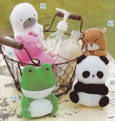 5 cute Towel Plush Animal Toys Panda Hamster Pig Frog Seal stuffed dolls sewing crafts pdf E PATTERN in Chinese. $3,00, via