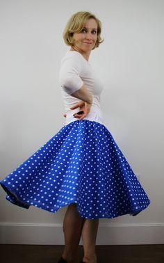 Blue skirt, full circle skirt, swing skirt, polka dot skirt, 1950s skirt, pinup skirt, women skirt, elastic waist skirt, retro style skirt by ElzahDesign on Etsy