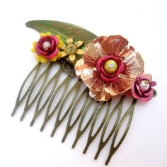 Bridal Hair Comb Collage Wedding Hair Piece Vintage by cloudcake, $45.00