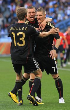 Thomas Mueller, Bastian, Lukas Podolski - Argentina v Germany: 2010 FIFA World Cup - Quarter Finals