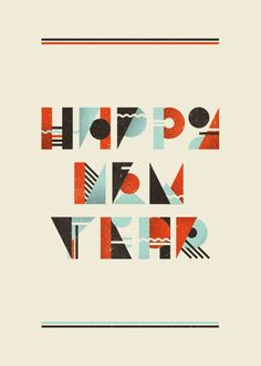 If you're taking the DIY route on holiday cards this year but are blanking on what to do, take a look at the holiday card design here for inspiration. Happy New Year 2016, New Years 2016, Types Of Lettering, Hand Lettering, Postcard Design, Fun At Work, Graphic Patterns, Graphic Design Inspiration, Typography Design