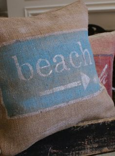 3 Amazing Ideas Can Change Your Life: Decorative Pillows Bedroom Night Stands decorative pillows couch gray walls.Cute Decorative Pillows Black And White cute decorative pillows etsy.Decorative Pillows With Buttons Cushions. Burlap Projects, Burlap Crafts, Burlap Pillows, Decorative Pillows, Pillow Fabric, Style Nautique, I Love The Beach, Beach Signs, Beach Cottages