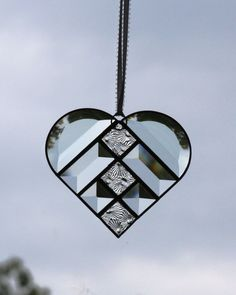 Clear Beveled Stained Glass Suncatcher with Snowflake Textures