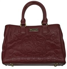 Loungefly Sugar Skull Day of the Dead Tattoo Burgundy Embossed Handbag 939257e9fb3a7