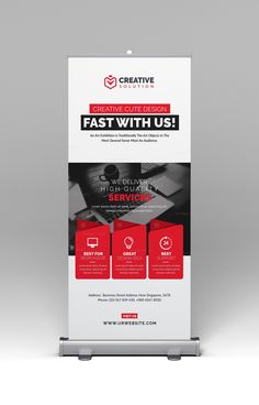 This elegant and well organized corporate roll-up banner template is in PSD format. The Roll up banner template is suitable for promoting your business events in an elegant style. Banner Template, Banner Sample, Pull Up Banner Design, Standing Banner Design, Rollup Banner, Rollup Design, Standee Design, Banner Design Inspiration, Trade Show Design