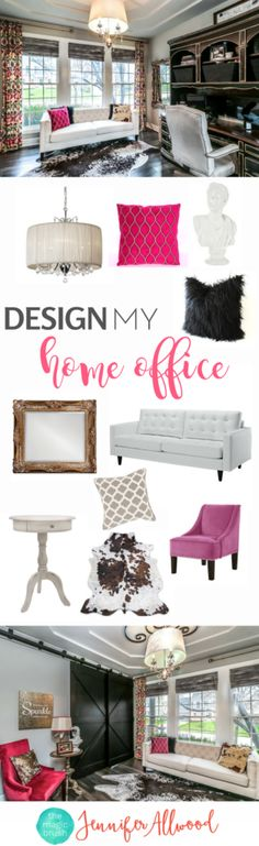 Pinks & Golds & Crystals & Cowhide! & Barndoors - Here's my home office! I actually work at that desk! Home Office Decorating Ideas & Design Inspiration & Home Decor by Jennifer Allwood + Office Decor