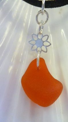 Very Rare Orange Sea Glass Sterling Silver by Cathie Palmer SOLD