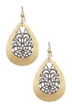 18K Gold Clad Black Rhodium Teardrop Open Design Caged Dangle Earrings by Rivka Friedman on @HauteLook