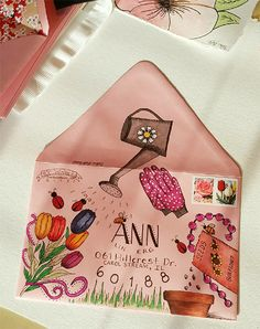 hand lettering, mail art, envelope art, calligraphy, watercolor, pen and ink…