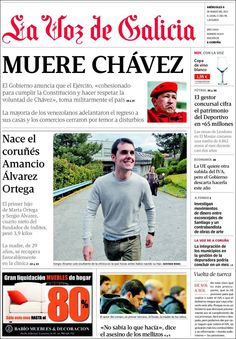 Los Titulares y Portadas de Noticias Destacadas Españolas del 6 de Marzo de 2013 del Diario La Voz de Galicia ¿Que le pareció esta Portada de este Diario Español?