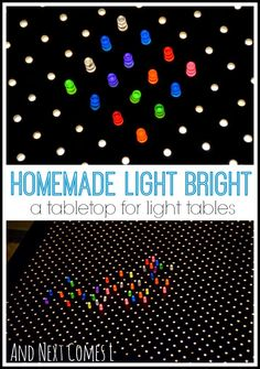 Convert your light table into a light bright! Make your own light bright tabletop to place on top of your light table with this quick tutorial. Sensory Activities, Infant Activities, Activities For Kids, Sensory Play, Sensory Table, Motor Activities, Reggio Emilia, Diy Light Table, Preschool Science
