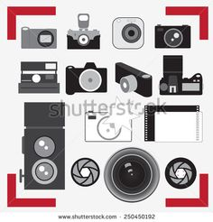 vector photo cameras and lenses - stock vector