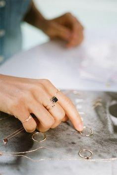 tiny rings ooh I like the black square ring