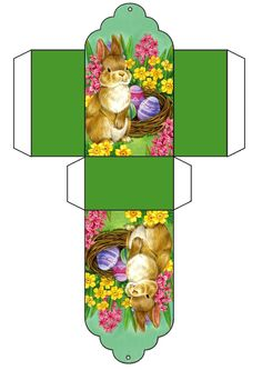 Easter mini printie = mini box with Easter rabbit and coloured Easter eggs